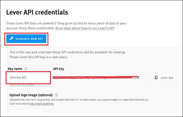 Lever API credentials