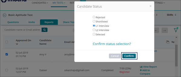 Assign candidate status