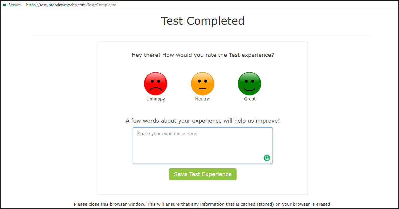 Candidate Feedback - Test completed
