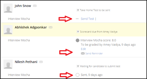 Sending the Test Link