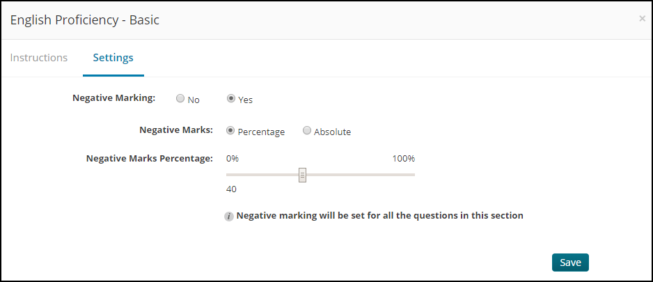 Negative marking settings