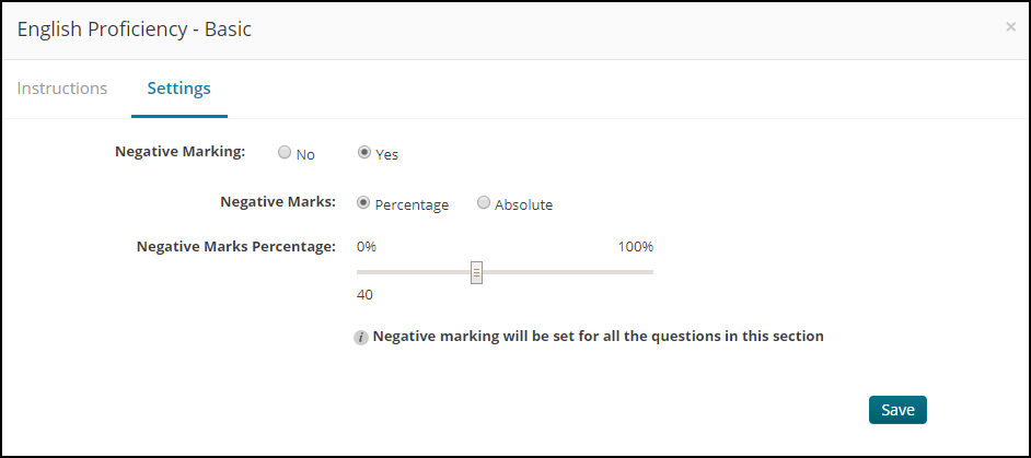 Select the negative marking parameters