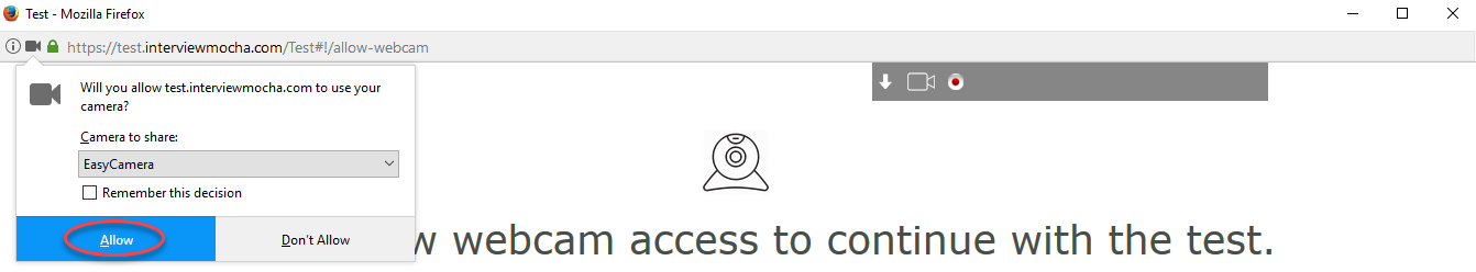Allow access to webcam for FireFox