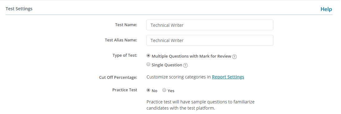 Advanced Test Setting