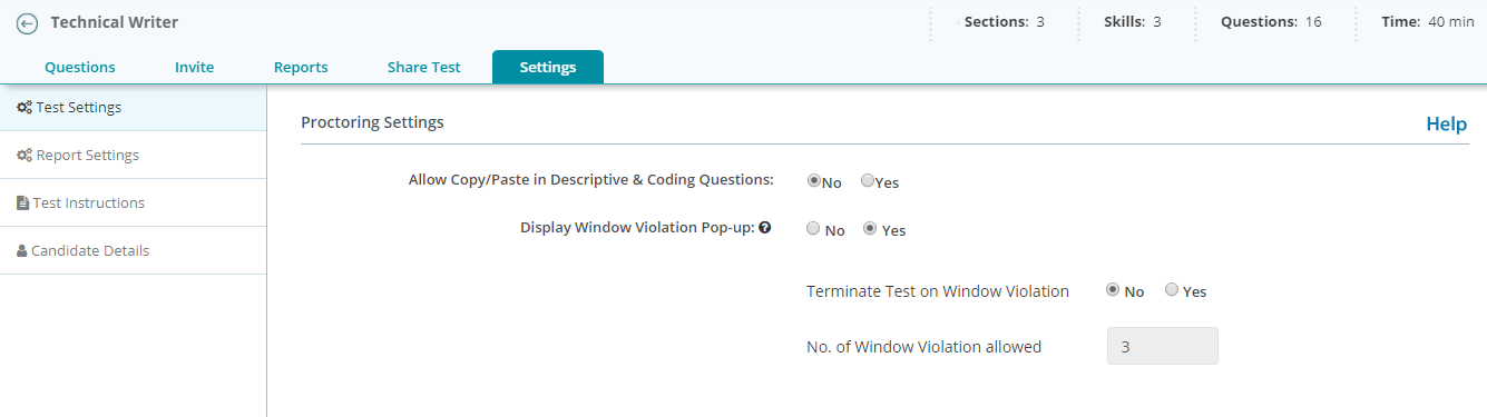 Window violation - proctoring settings