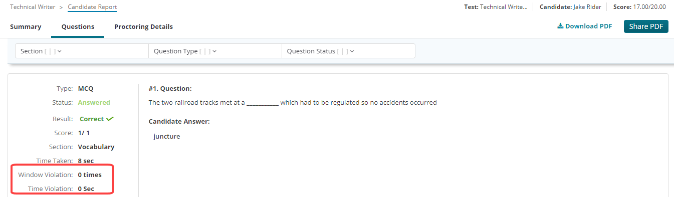 Window Violation for each question under questions tab