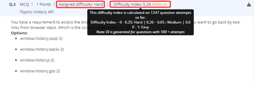 Question Difficulty Index 1