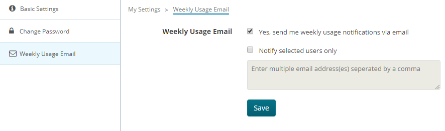 Weekly Usage Email