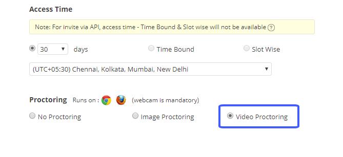 Video proctoring setting