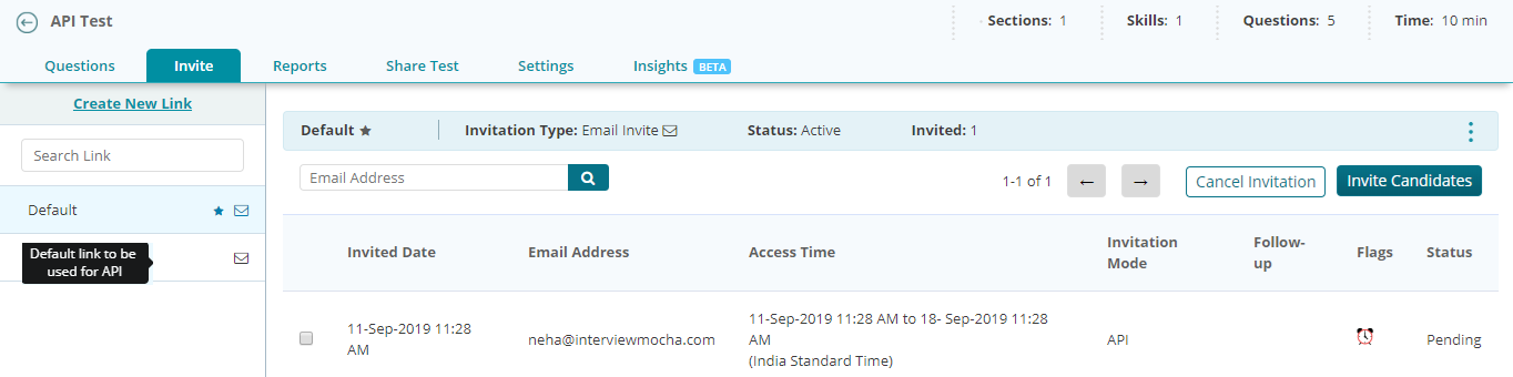 how the access time works in an API link generated by your ATS/LMS solution