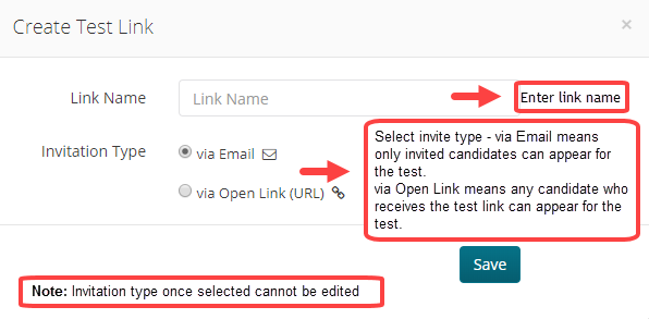 Create New Test Link