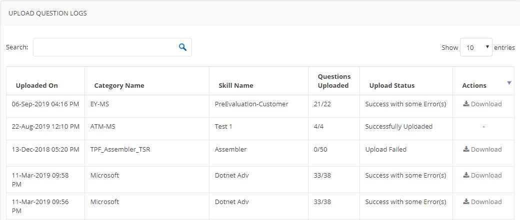 Upload question logs