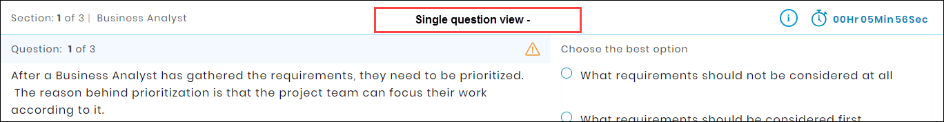 Test platform- Single Question view
